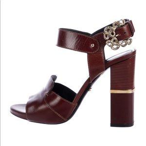 Roberto Cavalli Leather peep-toe sandals